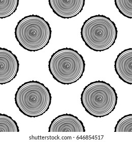Tree Rings Seamless Vector Pattern. Saw cut tree trunk background. Vector Illustration.
