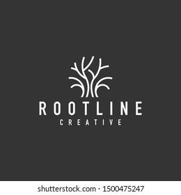 tree root logo - vector illustration