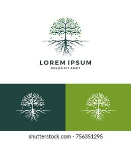 tree and root logo vector leaf emblem badge download