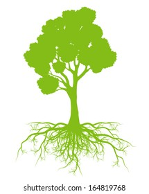 Tree with roots background ecology vector concept card
