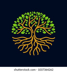 tree roots circle logo icon