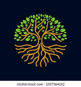 tree roots circle logo icon