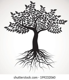 tree with roots and foliage, vector image