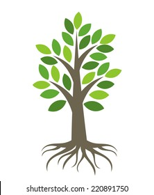 Tree with roots icon. Vector illustration