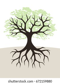 Tree and roots illustration with branches and green leaves