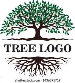 Tree and roots logo design vector isolated, tree of life logo design illustration