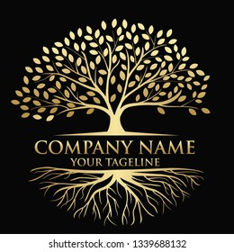 Tree and roots logo illustration. Vector silhouette of a tree. In gold color