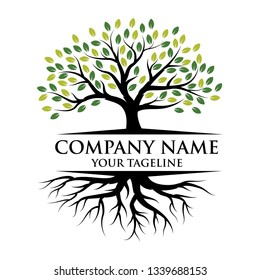Tree and roots logo illustration. Vector silhouette of a tree