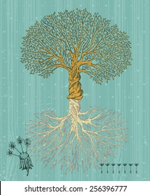 Tree with roots on rough background. Arbor day poster in vintage style.