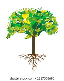 Tree and roots painting, vector graphic illustration