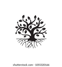 Tree with roots, simple icon, vector illustration on white background