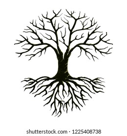 tree and roots vector illustration, molt tree, drought tree vector