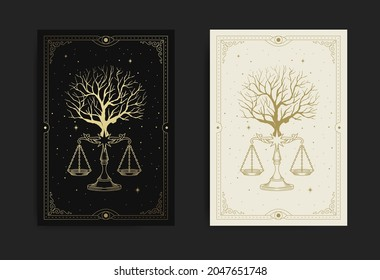 Tree with scale of justice or balance symbol also known as sign of libra constellation, in carving, hand drawn, line art, luxury, heavenly, esoteric, boho style