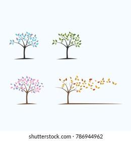 Tree Season Winter Spring Summer Autumn Vector