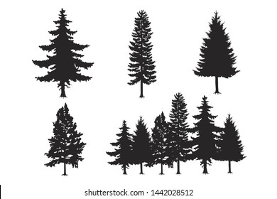 tree set of black silhouette vector on white background, tree vector symbol,