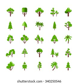 Tree set collection flat icons deciduous pine oak spruce fir isolated  vector illustration