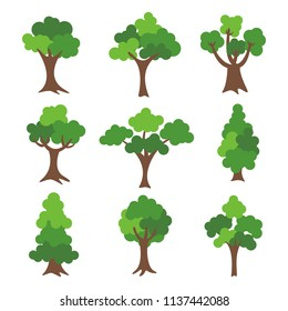 tree set isolated on white background. vector illustration design.