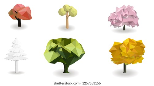 Tree set isolated with white background, low poly design, nature object concept,colorful tree shape, vector art and illustration.