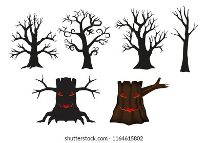 Tree set for object halloween day