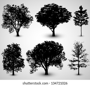 Tree Set Silhouettes | EPS10 Vector