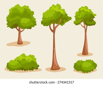 Tree Set : Vector Illustration