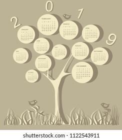 Tree shape calendar for 2019