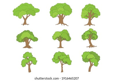 tree shape collection, simple vector illustration