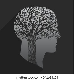 Tree in the shape of head on dark background
