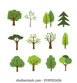 tree shape illustration with flat design style in set