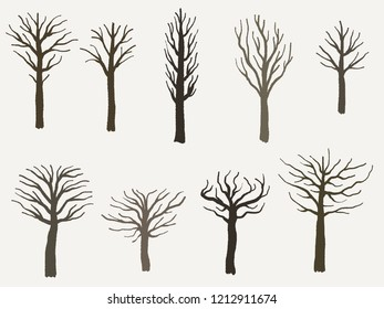 Tree shape set - vector tree silhouette illustration collection.