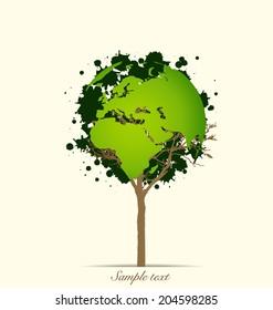 Tree shaped world map. Vector illustration.