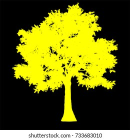 tree side view silhouette isolated - yellow - vector illustration