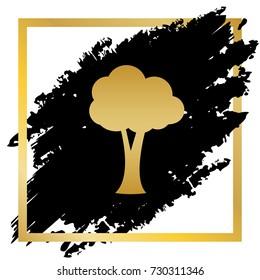 Tree sign illustration. Vector. Golden icon at black spot inside golden frame on white background.