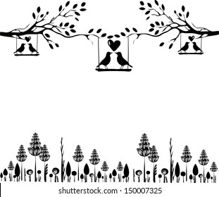 Tree silhouette with birds in love on a swing