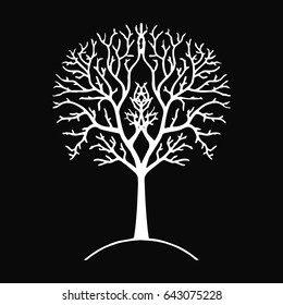 Tree silhouette black and white GONDOR, Lord of the Ring