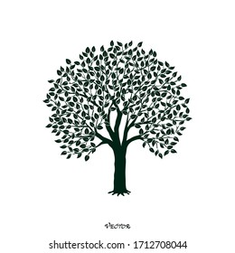 Tree silhouette with branches for logo, label, sign. Vector illustration.