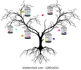 tree silhouette with color birds flying and bird in a cage