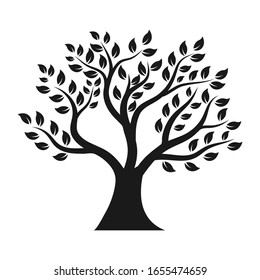 Tree silhouette flat icon  illustration on white background.Isolated vector tree simple design of forest.