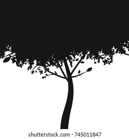 Tree silhouette isolated on white background. Vector