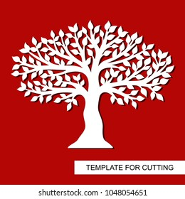 Tree silhouette isolated. Template for laser cutting, wood carving, paper cut and printing. Vector illustration.