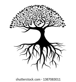 Tree silhouette with leaves and roots isolated on white background vector illustration eps 10