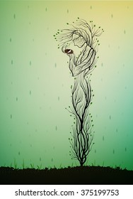 tree silhouette like a woman holding nest with white bird and hiding it from the rain, spring tree soul, tree alive idea, vector