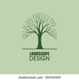 Tree silhouette logo element vector landscape design