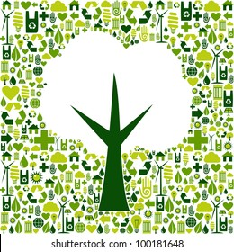 Tree silhouette made with green icons collection. Vector file available.
