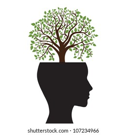 Tree silhouette of a man's head, vector image