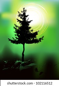 Tree silhouette on an abstract background