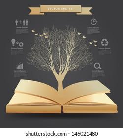 Tree silhouette on book, Vector illustration modern template design