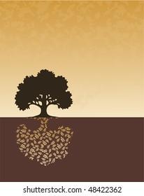 Tree silhouette on horizon