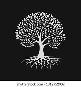 Tree silhouette with root , logo design template. Eco vector sign. Plant, nature and ecology- Vector