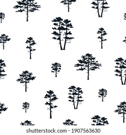 Tree silhouette seamless pattern. Vector isoleted background with hand drawn forest wood. Conifer texture for fabric.